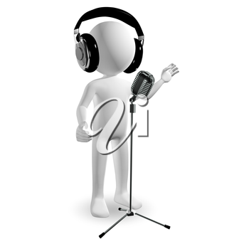3d abstract illustration man in a headphones