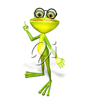 3d illustration merry green frog in the glasses