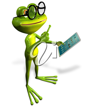 3d illustration merry green frog with a tablet