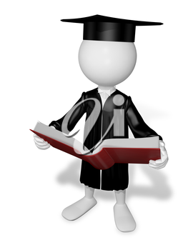 Royalty Free Clipart Image of a Graduate Reading a Book