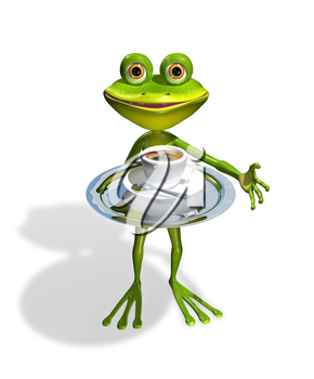 Royalty Free Clipart Image of a Frog Serving a Cup of Coffee