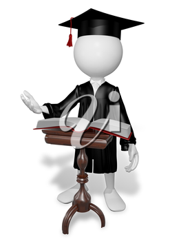 Royalty Free Clipart Image of a Graduate Reading
