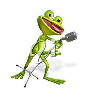 Royalty Free Clipart Image of a Frog Singing