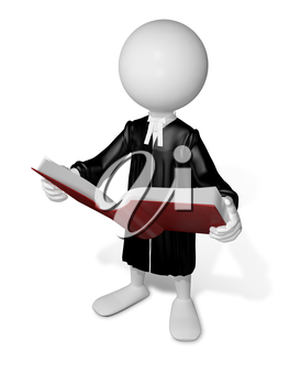 Royalty Free Clipart Image of a Lawyer Reading a Book
