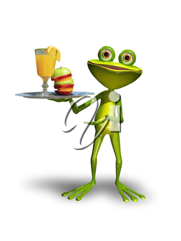 Illustration green Frog with a tray with juice