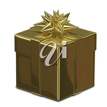 3D Illustration of a Gold Gift Box