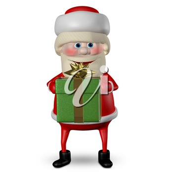3D Illustration of Santa Claus with Green Gifts Box