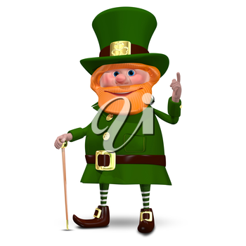 3D Illustration of Saint Patrick with a Cane