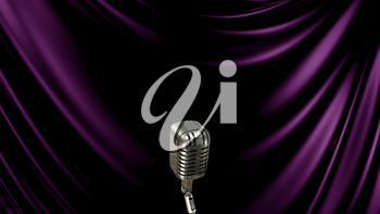 3D Illustration Abstract Purple Background with Microphone