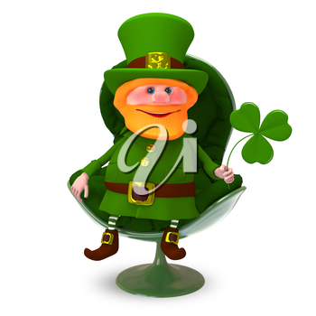 3D Illustration of Saint Patrick with Clover In the Armchair on a White Background
