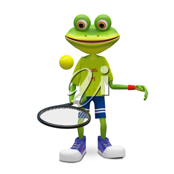 3D Illustration Frog with Tennis Racket on a White Background