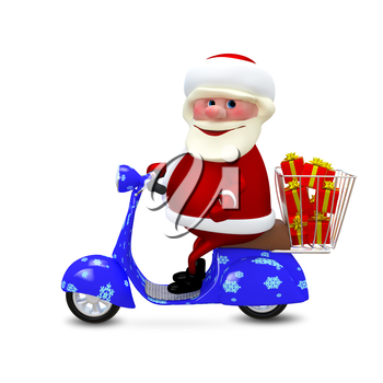 3D  Animation Santa on a Scooter with Gifts on White Background