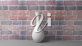 3d Illustration White Vase on the Background of a Brick Wall on Concrete