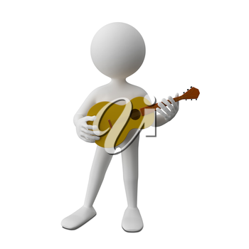 3D Illustration of an Abstract Man with Guitar on a White Background