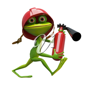 3D Illustration Cheerful Frog Fireman on a White Background