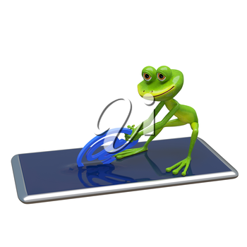 3D Illustration Frog Pulls Email Sign From Smartphone on a White Background
