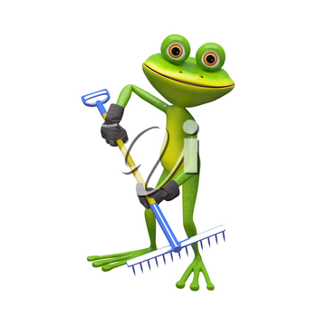 3D Illustration of a Frog with a Rake on a White Background