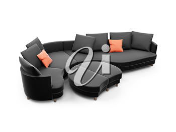 Royalty Free Clipart Image of a Leather Couch
