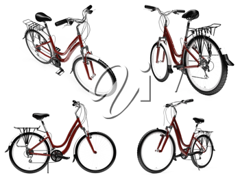Royalty Free Clipart Image of a Bunch of Bicycles