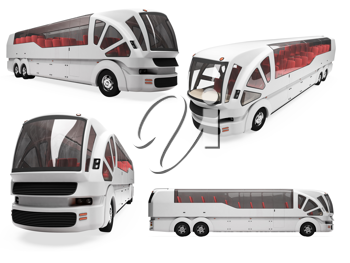Royalty Free Clipart Image of a Bunch of Buses