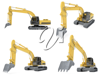 Royalty Free Clipart Image of Construction Vehicles