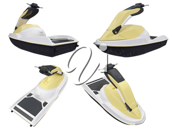 Royalty Free Clipart Image of Jet-Skis