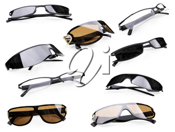 Royalty Free Clipart Image of a Bunch of Sunglasses