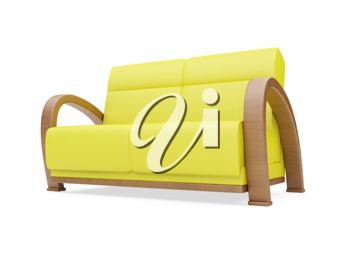 Royalty Free Clipart Image of a Yellow Couch