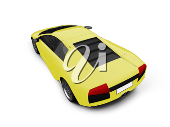 Royalty Free Clipart Image of a Yellow Ferrari