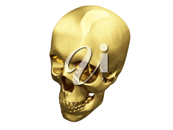 Royalty Free Clipart Image of a Gold Skull