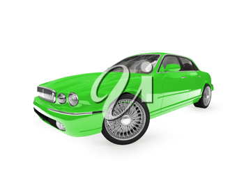 Royalty Free Clipart Image of a Green Jaguar