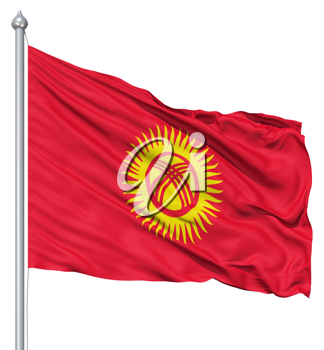 Royalty Free Clipart Image of the Flag of Kyrgyzstan