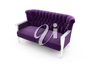 Royalty Free Clipart Image of a Purple Sofa