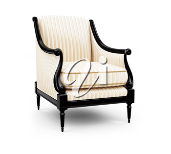 Royalty Free Clipart Image of a Striped Armchair