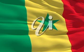 Royalty Free Clipart Image of the Flag of Senegal