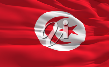 Royalty Free Clipart Image of the Flag of Tunisia