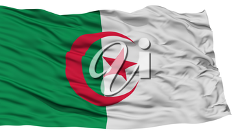 Isolated Algeria Flag, Waving on White Background, High Resolution