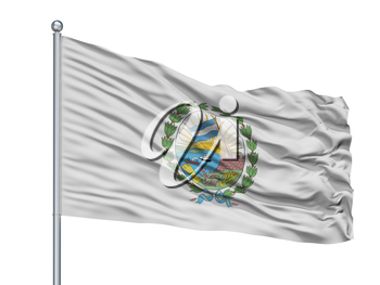 Rosario City Flag On Flagpole, Country Argentina, Isolated On White Background, 3D Rendering