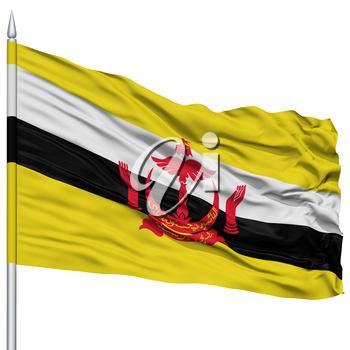 Bandar Seri Begawan City Flag on Flagpole, Capital City of Brunei, Flying in the Wind, Isolated on White Background
