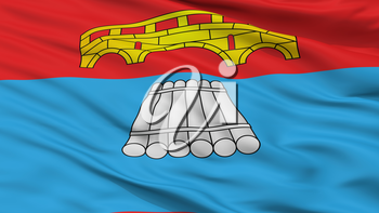 Mosty City Flag, Country Belarus, Closeup View, 3D Rendering