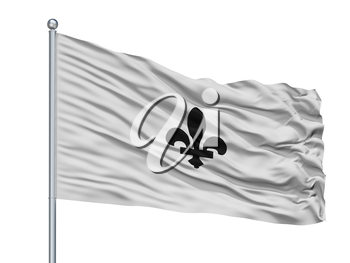 Aarschot City Flag On Flagpole, Country Belgium, Isolated On White Background, 3D Rendering