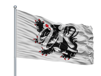 Binche City Flag On Flagpole, Country Belgium, Isolated On White Background, 3D Rendering