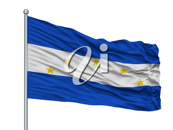 Vallegrande Province City Flag On Flagpole, Country Bolivia, Isolated On White Background, 3D Rendering