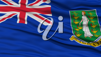 Closeup British Virgin Islands Flag, Waving in the Wind, High Resolution