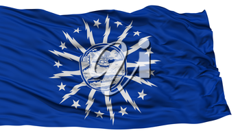 Isolated Buffalo City Flag, City of New York State, Waving on White Background, High Resolution