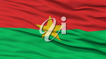 Closeup Burkina Flag, Waving in the Wind, 3D Rendering