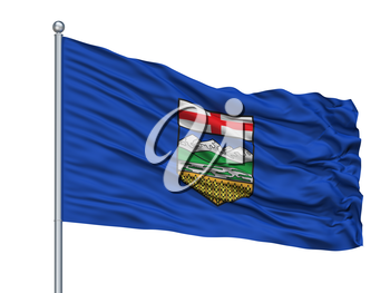 Alberta City Flag On Flagpole, Country Canada, Isolated On White Background, 3D Rendering