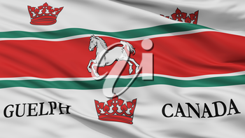 Guelph City Flag, Country Canada, Closeup View, 3D Rendering