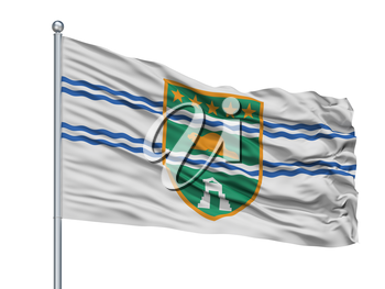 Surrey City Flag On Flagpole, Country Canada, British Columbia Province, Isolated On White Background, 3D Rendering