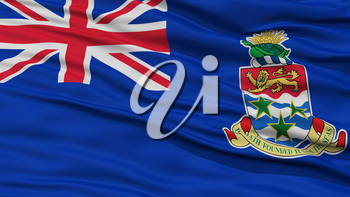 Closeup Cayman Islands Flag, Waving in the Wind, 3D Rendering